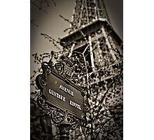 Avenue Gustave Eiffel Photographic Print