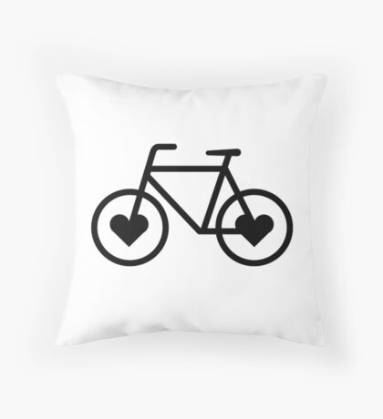 Black Bicycle Love - Fixie Hearts Throw Pillow