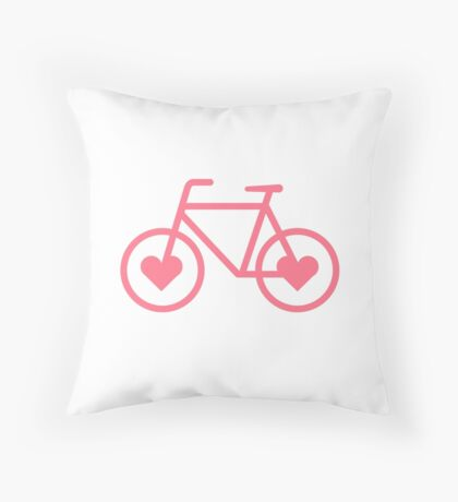 Pink Bicycle Love - Fixie Hearts Throw Pillow