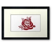 Rose Tattoo Woodcut Framed Print