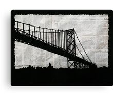 News Feed , Newspaper Bridge Collage, night cityscape cutout, black white city print illustration  Canvas Print