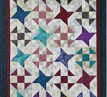 Churn Dash and Falling Stars Quilt by Jean Gregory  Evans