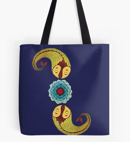 Curious Fish with Water Lily Tote Bag