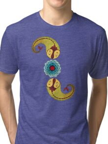 Curious Fish with Water Lily Tri-blend T-Shirt