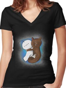 Kitty and Cry cuddling Women's Fitted V-Neck T-Shirt