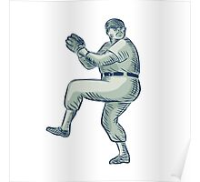 Baseball Pitcher Pitching Etching Poster