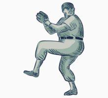 Baseball Pitcher Pitching Etching by patrimonio