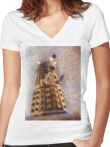 Dalek Flies! Women's Fitted V-Neck T-Shirt