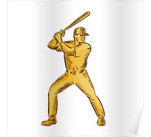 Baseball Batter Batting Bat Etching Poster