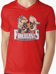Cinnabar Island Fire Blasts: Arcanine Sport Logo Mens V-Neck T-Shirt