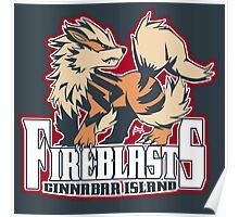 Cinnabar Island Fire Blasts: Arcanine Sport Logo Poster