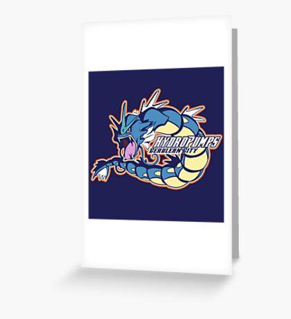 Cerulean City Hydro Pumps: Gyarados Sport Logo Greeting Card