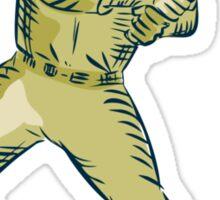 Baseball Player Batter Batting Bat Etching Sticker