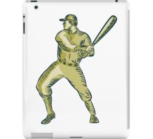 Baseball Player Batter Batting Bat Etching iPad Case/Skin