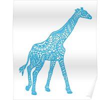 Printed Giraffe - Blue Poster
