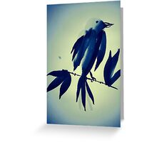 Sumi-e Indigo Bird Study Greeting Card