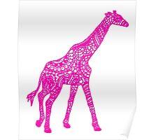 Printed Giraffe - Pink Poster