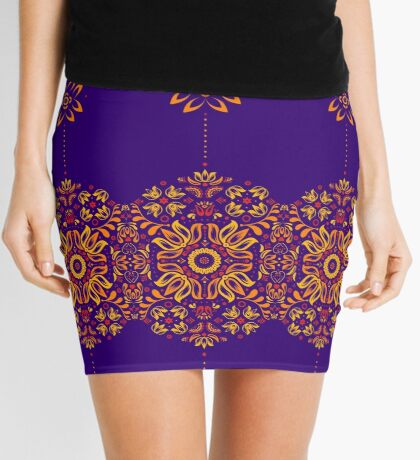 Fiery Floral Folk Pattern Mini Skirt