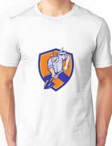 Coal Miner Shovel Digging Shield Retro Unisex T-Shirt