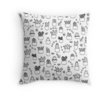 Potted Plants Pattern (Black on White) Throw Pillow