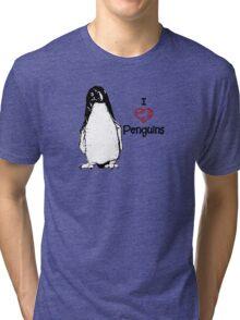 I Heart Penguins  Tri-blend T-Shirt