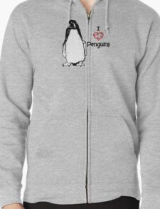 I Heart Penguins  Zipped Hoodie