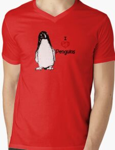 I Heart Penguins  Mens V-Neck T-Shirt