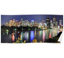 Brisbane CBD Night View Poster