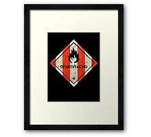 Launch flammable sign Framed Print
