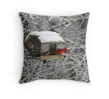 Cardinal in the Alabama Snow Throw Pillow