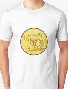 Rodeo Cowboy Steer Wrestling Circle Etching T-Shirt