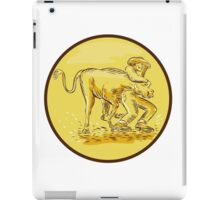 Rodeo Cowboy Steer Wrestling Circle Etching iPad Case/Skin