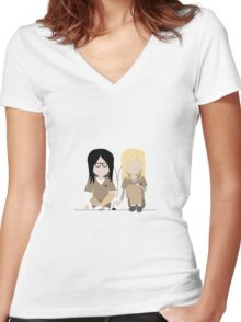 I Heart You - Alex and Piper Stylized Print Women's Fitted V-Neck T-Shirt
