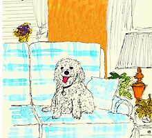 White Dog on Couch by danvera