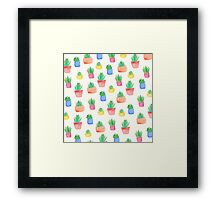 Watercolour Potted Succulents Pattern Framed Print