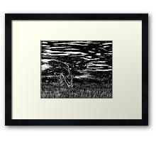 Kenya Landscape Etching Framed Print