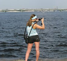 Lady Photographer In a Strange Pose by aleksdat