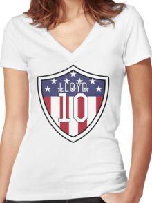 Carli Lloyd #10 | USWNT Women's Fitted V-Neck T-Shirt