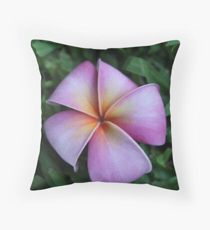 Soft Pink Plumeria Throw Pillow