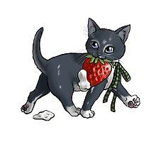 Strawberries and Cream Thief Kitten Tea Party by ninniku