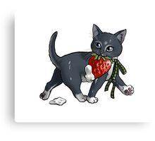 Strawberries and Cream Thief Kitten Tea Party Canvas Print