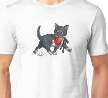Strawberries and Cream Thief Kitten Tea Party Unisex T-Shirt