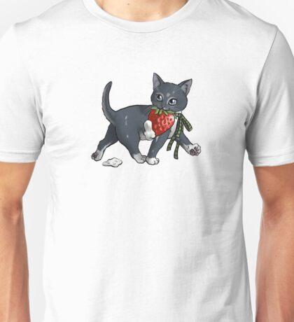 Strawberries and Cream Thief Kitten Tea Party Unisex T-Shirt
