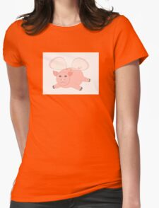 GLASSWINGED PIG Womens Fitted T-Shirt
