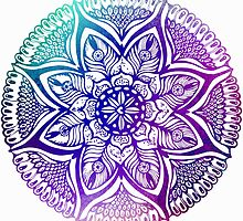 Mandala#4.Hand draw  ink and pen, Watercolor, on textured paper by Sviatlana Kandybovich