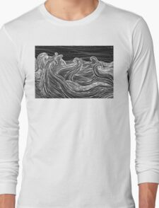 Crashing Waves at Night Long Sleeve T-Shirt