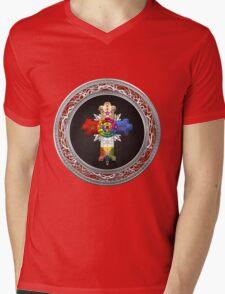 Rosy Cross - Rose Croix in Silver on Black Mens V-Neck T-Shirt