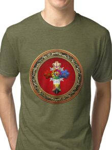 Rosy Cross - Rose Croix in Gold on Red  Tri-blend T-Shirt