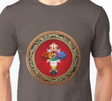 Rosy Cross - Rose Croix in Gold on Red  Unisex T-Shirt