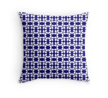 Kumo Shibori Dark Blue Modern Japanese Inspired Geometric Print on White Throw Pillow